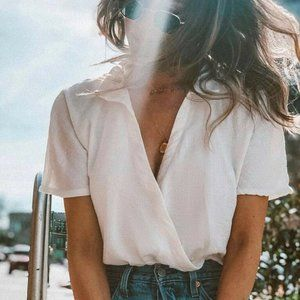 Urban Outfitters Natural Surplice Crop Top XS
